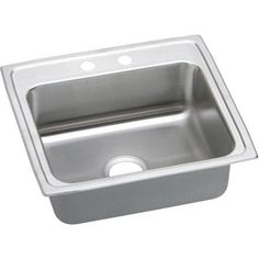 Elkay LRADQ2219502 Gourmet Lustertone Stainless Steel Single Bowl Top Mount Quick-Clip Sink with 2 Faucet Holes, Multicolor
