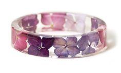 Real Flower Jewelry- Flower Jewelry- Jewelry with Real Flowers- Purple Flowers- Pink Bracelet -Resin Jewelry- Purple Bracelet
