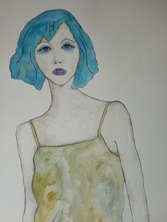 Portrait Katy 70x100cm aquarel/watercolor by Tanja Kooymans