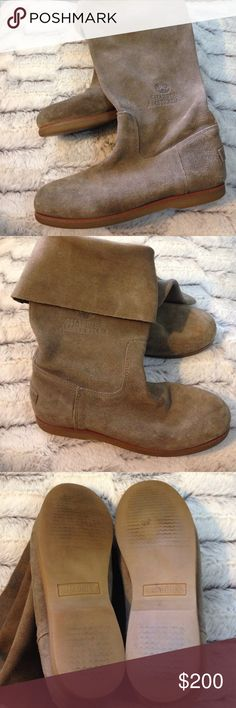 """High end European Shabbies Amsterdam boots. High end European brand pull-on suede boots. Only available in Europe. Can be worn folded over or straight up. I don't see a size on these anywhere but the sole is approx. 10"""" long so my guess would be around an 7.5/8. 13"""" tall when worn up. Shabbies Amsterdam Shoes"""