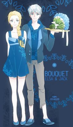 bouquet by Yamygugu.deviantart.com on @DeviantArt   Jack: they say that the girl who get the bouquet will be the next bride, Elsa. Elsa:....well ,you caught it Jack, not me.~> Lol, XD