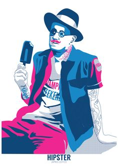 Hipster James Joyce by Gary Reddin from our Irish Art and Design shops Jam Art Factory or from JamArtPrints.com