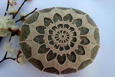 Crocheted Lace Stone, Handmade, One-of-a-kind by KnotByThreadAlone on Etsy,
