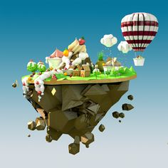 Low poly sweets & fruits world! on Behance