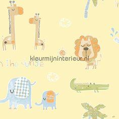 Wij wonen in de jungle geel Baby - Peuter behang
