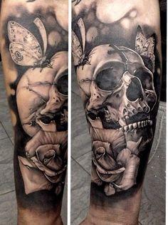 Black and Grey Butterfly, Skull, Cross & Rose | Matteo Pasqualin