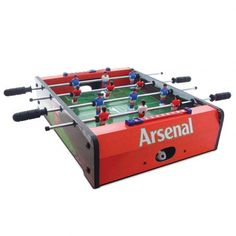 - stadium football table- 6 players per team- sturdy construction grass effect printed pitch- score indicator on each side- complete with two plastic balls- rea Arsenal Football Team, Arsenal Fc, Football Fans, Football Presents, Real Madrid And Barcelona, Ipad 3 Cases, American Flag Stars, Football Memorabilia, English Premier League