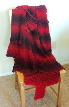 Soft Red Ombre Striped Throw Blanket. $70.00, via Etsy.