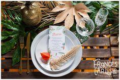 Tropical Themed Wedding table setting, gold pineapple, gold cutlery, white stoneware | tropical menu stationery Pepper and Joy | Classic Crockery | Wedding styling Always Andri www.alwaysandri.co.uk | Frances Carlisle Photography www.francescarlisle.co.uk