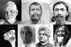 """Family Tree"" of Modern Yoga.  From left to right, clockwise from the top left: Ramana Maharshi, Ramakrishna Paramahamsa, Sri Aurobindo Ghosh, Sri Bhagawan Rajneesh (Osho), Jiddu Krishnamurti, Swami Vivekananda, Maharishi Mahesh Yogi"