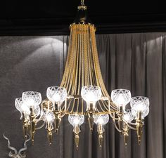 """Signature Collection: Special Order Design: Grand 47"""" Dia Classic 24kt Gold Plated Chain Chandelier * Pricing By Quotation"""
