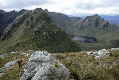 The Beggary Bumps and Lake Mimosa from below Mt Taurus. Western Arthurs, SW Tasmania, December, 1969. Tasmania, Taurus, Westerns, December, Western, Ox, December Daily