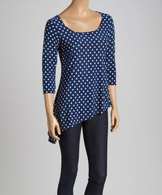 Take a look at this Navy & Beige Dot Asymmetrical Top on zulily today!