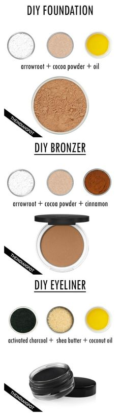 DIY All Natural Makeup Recipes – Foundation, Bronzer and Eyeliner - 16 Must-Ha. DIY All Natural Makeup Recipes – Foundation, Bronzer and Eyeliner - 16 Must Belleza Diy, Tips Belleza, All Natural Makeup, Organic Makeup, Simple Makeup, Natural Beauty, Natural Skin, Natural Life, Organic Beauty