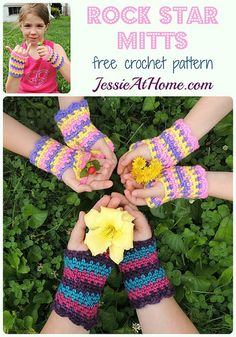 Rock Star Mitts ~ free crochet pattern by Jessie At Home