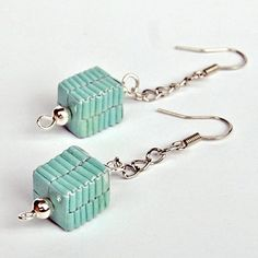 Very modern cubed paper bead earrings. Would like to try this with candy wrappers.