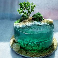 Paradise-Island-Cake-Art Ocean Birthday Cakes, Ocean Cakes, Beach Cakes, Cake Birthday, Pretty Cakes, Cute Cakes, Beautiful Cakes, Amazing Cakes, Beautiful Desserts