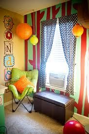 paper lanterns and wall letters