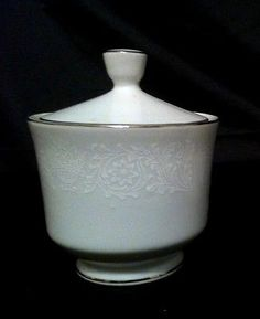 Crown Victoria Lovelace Fine China Sugar Bowl with Lid ~ White & Platinum Japan
