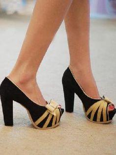 New Fashion Bowknot Overlay Chunky Heel Sandal Black