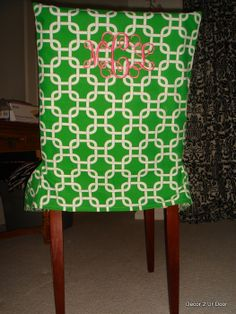 Green and Pink Chair Cover Green and Pink Dorm and Apartment Chair Cover Green and Pink Monogrammed Chair Cover  http://decor-2-ur-door.com/custom-dorm-chair-cover on Decor 2 Ur Door  http://www.decor-2-ur-door.com/blog/galleries/chair-covers/dsc01415.jpg