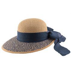 Chapeau en paille Amiata en Raphia Naturel et bleu #mode #ete #femme #fashion #chic sur Hatshowroom.com votre boutique Headwear.