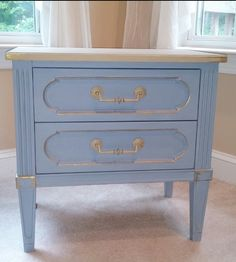 "Vintage American of Martinsville nightstand painted with ASCP Louis Blue on the body & drawers and Country Grey on the top, then accented with gold gilding wax. Size: 23.5""H x 24""W x 16""D  ~ by WldOats (Etsy) $350."