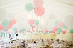 Pastel paper lanterns are alwasy popular at any wedding - they look great in marquees or in barm style venues with exposed beams. Mix baby pink and robin egg or mint paper lanterns for a soft but unique impact.