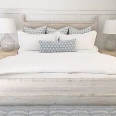 Soft grays and white bedding. Bedding with soft, pale grays and white bedding. Soft grays and white bedding. Bedding with soft, pale grays and white bedding. Blue Bedroom, Trendy Bedroom, Bedroom Decor, Master Bedroom, New Bedroom Design, Home Interior Design, Blue And White Bedding, Coastal Bedrooms, White Bedrooms