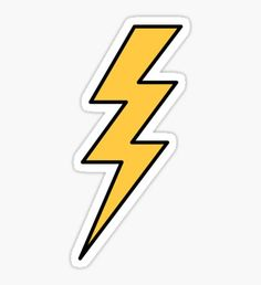 Pegatina Lightning bolt - yellow with black outlines