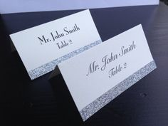 Silver Glitter Wedding Place Cards on Etsy, $1.25
