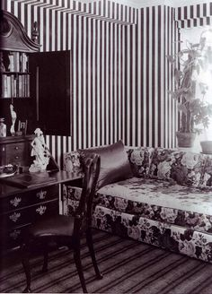:Classic striped wallpaper and large scale floral chintz are hallmarks of Dorothy Drapers sale