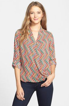 Pleione Faux Wrap Blouse (Regular & Petite) available at #Nordstrom