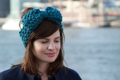 Bow Headwarmer  Peacock  Turquoise by AudreyDesign on Etsy, $25.00