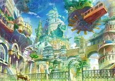 original Part 108 - - Anime Image Landscape Concept, Fantasy Landscape, Fantasy City, Fantasy World, Fantasy Village, Tarot, Anime City, Environment Concept Art, Environmental Art