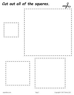 FREE cutting worksheets. Includes a square cutting practice worksheet plus 11 other shapes. Great for toddlers, preschool, and kindergarten! Get all of the shape scissor skills worksheets here --> http://www.mpmschoolsupplies.com/ideas/7556/12-free-printable-shapes-cutting-worksheets/