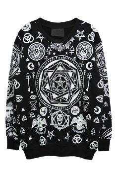 Punk Print Sweatshirt OASAP.com