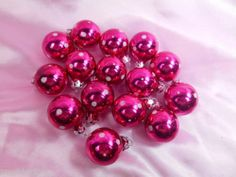 Set 15 Hot Pink Polka Dot Valentine Feather Tree Glass Ball Ornaments Miniature | eBay
