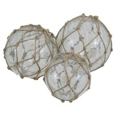 Set of 3 decorative glass orbs with hemp netting overlay.    Product: Small, medium, and large orbConstruction Material...