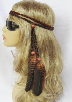 HIPPY CHICK feather headband braided hippie boho women hair accessories. $19.00, via Etsy.