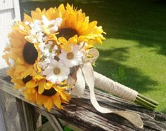 Sunflower daisy wedding  | ... Sunflower Daisy Bouquet, Burlap Bouquet, Rustic wedding, Sunflower