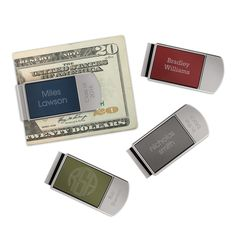 These money clips add a great touch of class to your groomsmens' pockets. https://www.thingsremembered.com/black-chrome-collection-money-clips/product/346208?fcref=pinterest