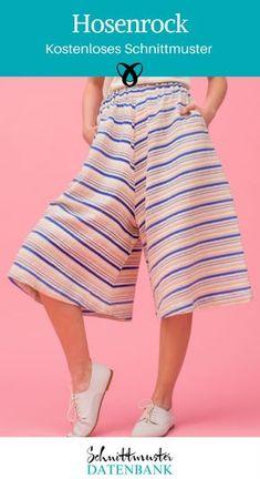 Hosenrock Nähideen für Frauen Kleidung kostenlose Schnittmuster Gratis-Nähanleitung