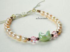 Armbänder - Glasperlen-Armband, creme,rosa,grün, S - ein Designerstück von schoenseh bei DaWanda