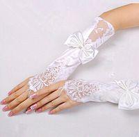 Sin dedos de encaje satinado guantes largos de la novia nupcial Prom Party con cuentas de envío libre guantes de novia para la boda vestidos