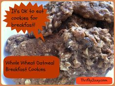 Cookies for Breakfast? Why YES!! Whole Wheat Oatmeal Breakfast Cookies Recipe - Thrifty Jinxy