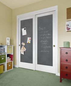 sliding chalkboard doors perfect for toddu0027s room and saves room