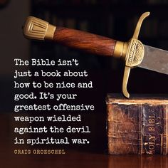 The Bible isn't just a book about how to be nice and good. It's your greatest offensive weapon wielded against the devil in spiritual war. – Craig Groeschel‏