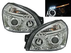 #Tucson jm 2004-2009 led angel-eye #projector headlight #chrome for hyundai,  View more on the LINK: http://www.zeppy.io/product/gb/2/360878616425/