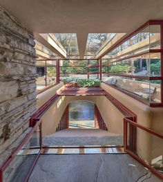 Falling Water House by Frank Lloyd Wright Architectural Digest, Contemporary Architecture, Amazing Architecture, Architecture Details, Contemporary Kitchens, Contemporary Office, Contemporary Design, Contemporary Stairs, Contemporary Building